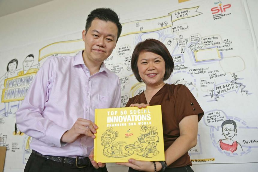 Social Innovation Park launches their book, Top 50 Social Innovations Changing Our World, edited by former MP Penny Low and (left) Dr Victor Tong of A*STAR Institute.