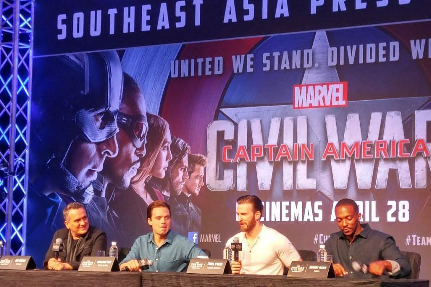 Press conference in Singapore for Captain America: Civil War: (from left) co-director Joe Russo, actors Sebastian Stan, Chris Evans and Anthony Mackie.