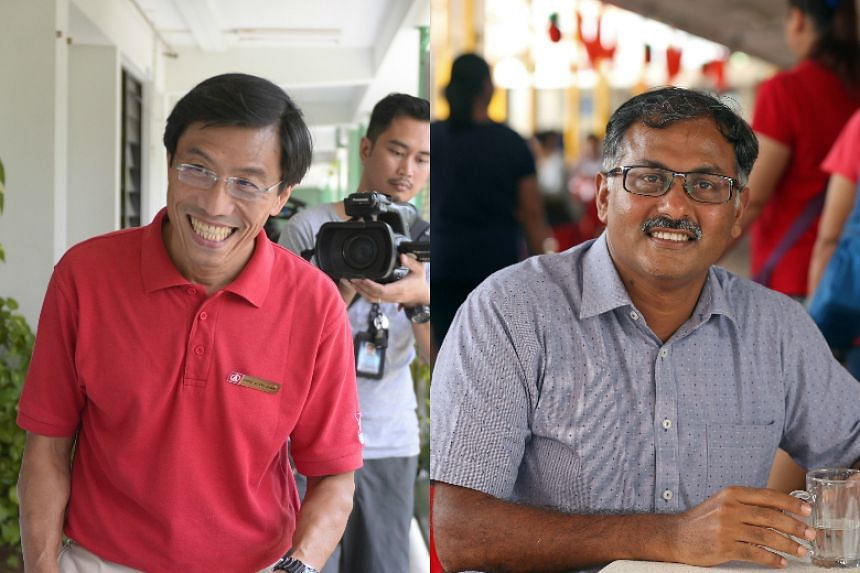 The PAP's Murali Pillai (right) and SDP secretary-general Chee Soon Juan will be running in the by-election on May 7, 2016.