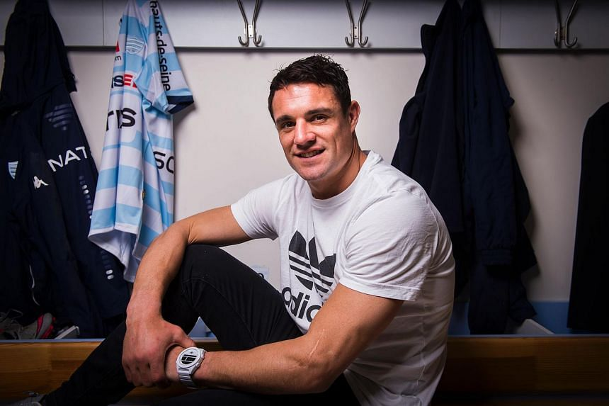 New Zealand's fly half, Dan Carter, poses on March 30, 2016 at Racing Metro 92's training centre in Le Plessis-Robinson, near Paris.