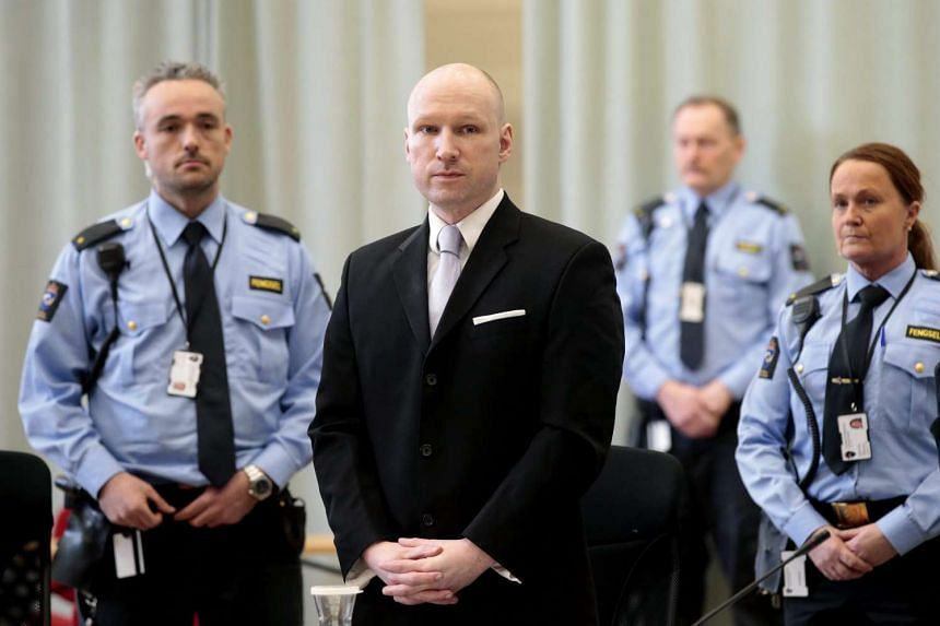 Convicted mass killer Anders Behring Breivik attending the fourth and last day in court in Skien prison, Norway on March 18. A Norwegian court found that Norwegian authorities are violating his human rights by holding him in isolation for almost five