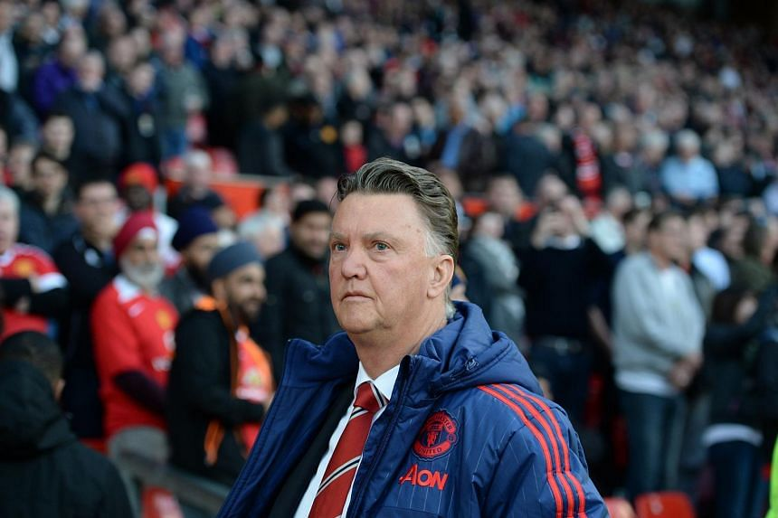 Louis van Gaal looks on before the English Premier League football match between Manchester United and Crystal Palace.