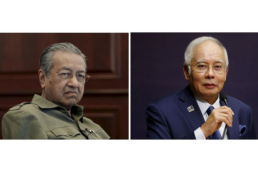 Malaysian Prime Minister Najib Razak (right) has filed an application to strike out a lawsuit filed last month by former premier Mahathir Mohamad (left).