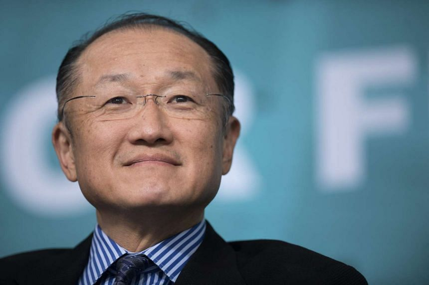 World Bank President Jim Yong Kim participates in a panel discussion in Washington, DC.