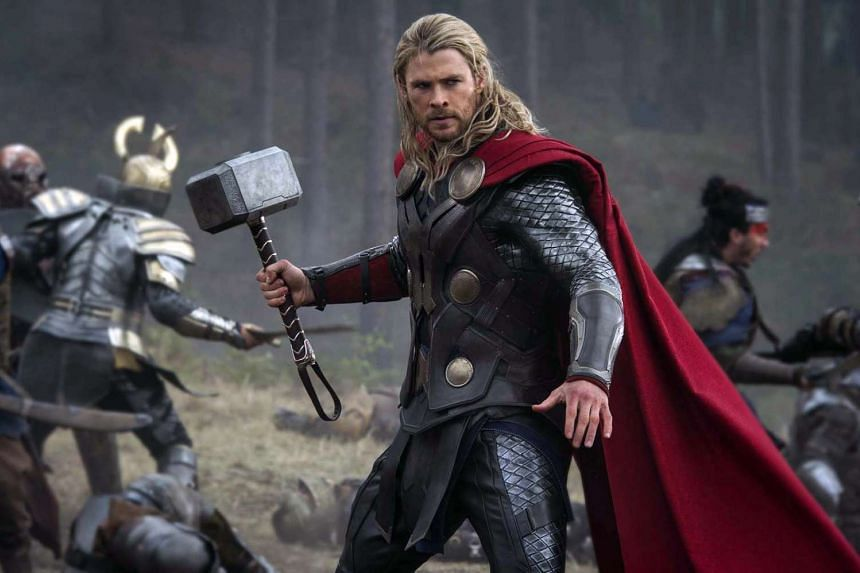 Chris Hemsworth as the Marvel character Thor.