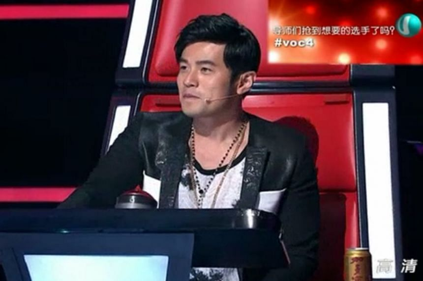 Television still from The Voice Of China Season 4, starring Jay Chou.