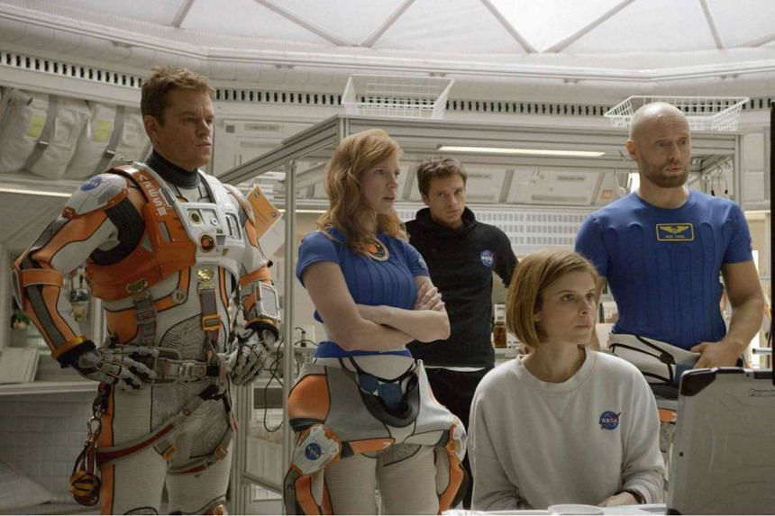 Cinema still: The Martian starring Matt Damon (left) and Jessica Chastain (second from left).