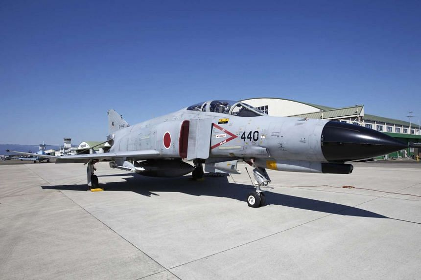 A F-4 jet fighter parks at Japan Air Self-Defense Force's Nyutabaru air base.
