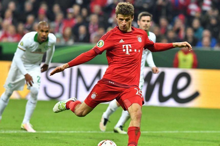 Bayern Munich's Thomas Mueller during their German DFB-Cup semi final match against SV Werder Bremen in Munich on April 19, 2016.