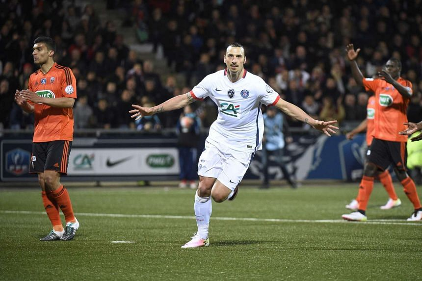 Paris Saint-Germain's Zlatan Ibrahimovic celebrates after scoring a goal during the French Cup semi-final match against Lorient (FCL), on April 19, 2016.