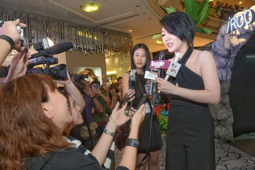 Taiwanese host Dee Hsu, in town to grace the opening of fashion brand iRoo outlet at Raffles City, on April 22, 2016.