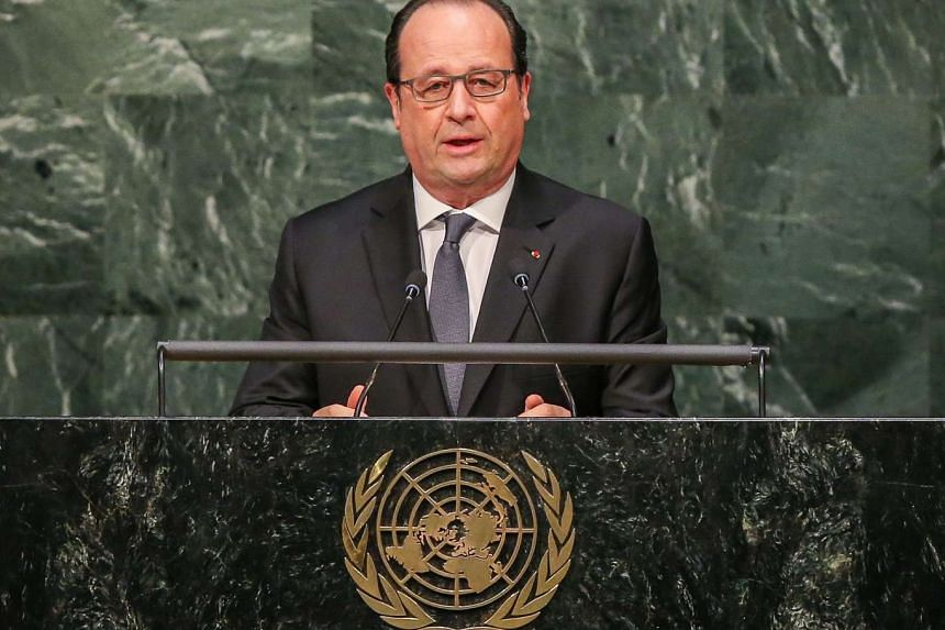 French President Francois Hollande speaks during the opening ceremony of the High-Level Event for the Signature of the Paris Agreement at the United Nations Headquarters in New York, New York USA, on April 22, 2016.