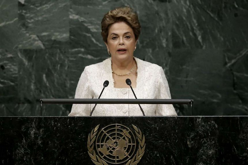 Brazilian President Dilma Rousseff delivers her remarks during the signing ceremony on climate change at the UN Headquarters, on April 22, 2016.