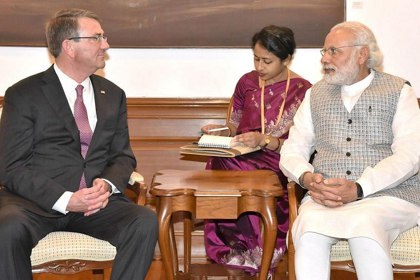 US Defence Secretary Ashton Carter meets with Indian Prime Minister Narendra Modi in New Delhi, on April 12, 2016.