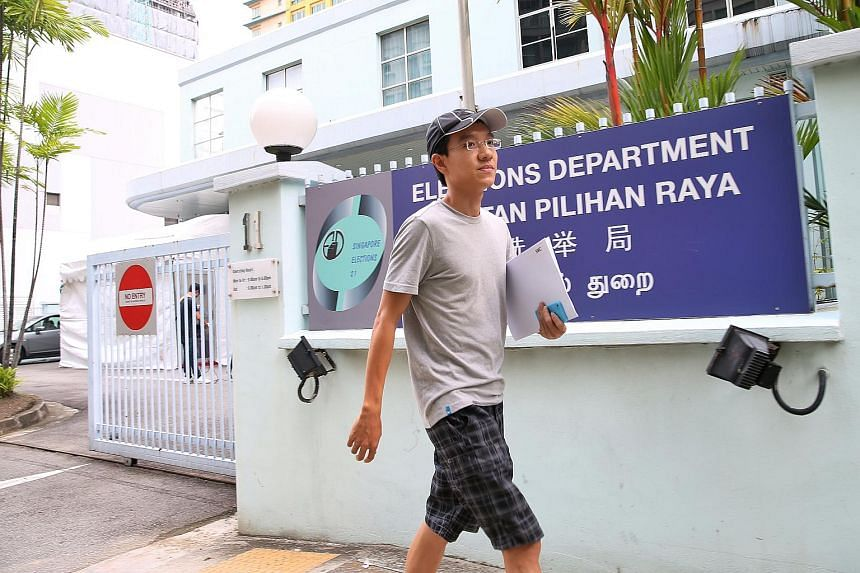 Uber driver Shirwin Eu, 32, leaving the Elections Department after collecting nomination papers on April 21. He plans to contest in the Bukit Batok by-election.