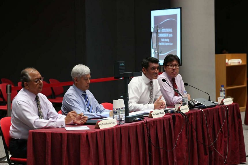 Eurasian Association president Benett Theseira (second from right) speaking at the Constitutional Commission hearing.