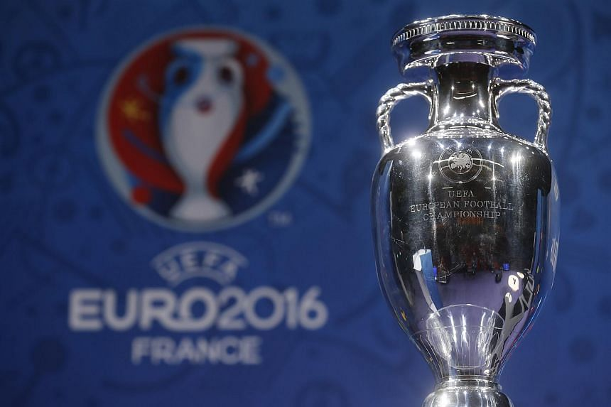 The Euro 2016 trophy on display in Paris on March 2.