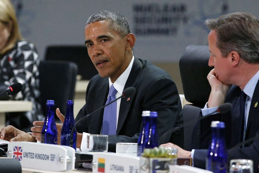 US President Barack Obama (left) with British Prime Minister David Cameron at the Nuclear Security Summit in Washington, on April 1, 2016.