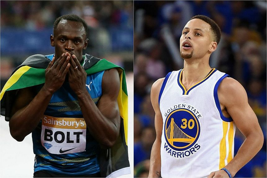 Jamaican sprint star Usain Bolt (left) and the National Basketball Association's Most Valuable Player Stephen Curry.