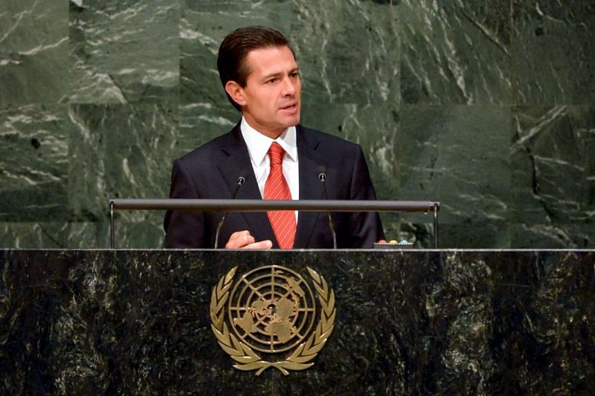 Mexican President Enrique Pena Nieto addresses the war on drugs at the UN General Assembly on Tuesday (April 19). REUTERS