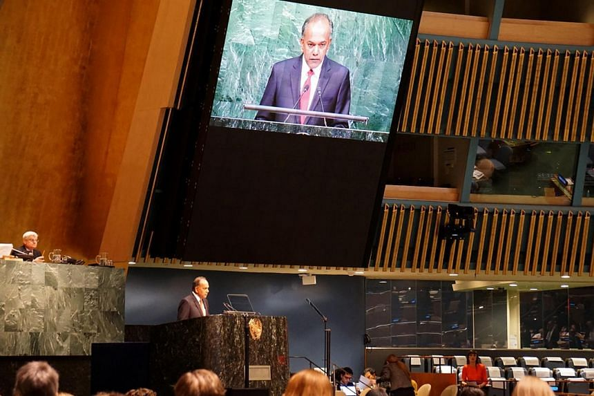 Mr Shanmugam speaking at the UN General Assembly in New York on Wednesday (April 20).