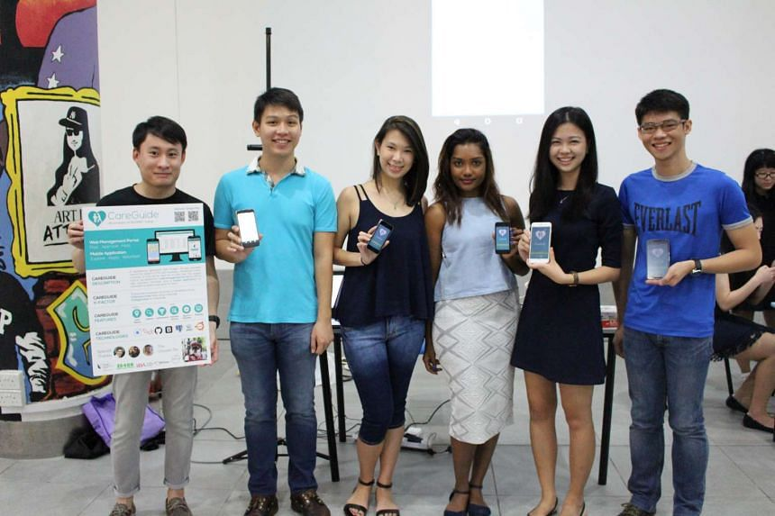 "Team ""The Chosen Six"", (from left) Chang Hua Peng, Chiang Ling Yi, Clara Ang, project manager Shangeri Sivalingam, Yong Lee Jia and Jonathan Low, developed a social crowdsourcing app, CareGuide. The app lets volunteers know about and sign up for acti"