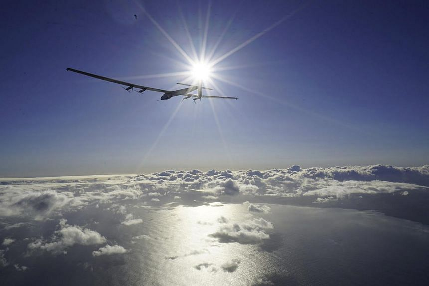 Solar Impulse 2 resuming the flight around the world that had been delayed because of weather and battery trouble in Kalaeloa, Hawaii, on April 21, 2016.