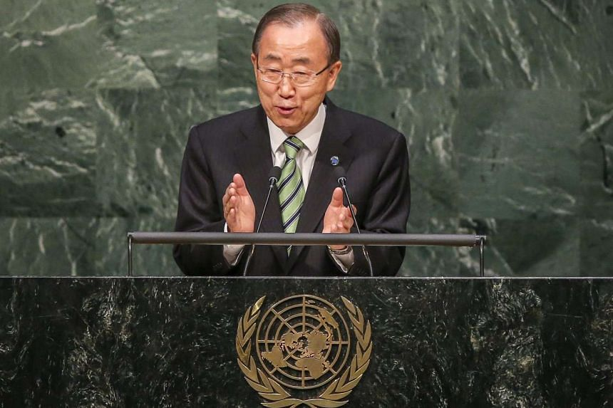 UN Secretary-General Ban Ki Moon speaks during the opening ceremony of the high-level event for the signature of the Paris Agreement, on April 22, 2016.