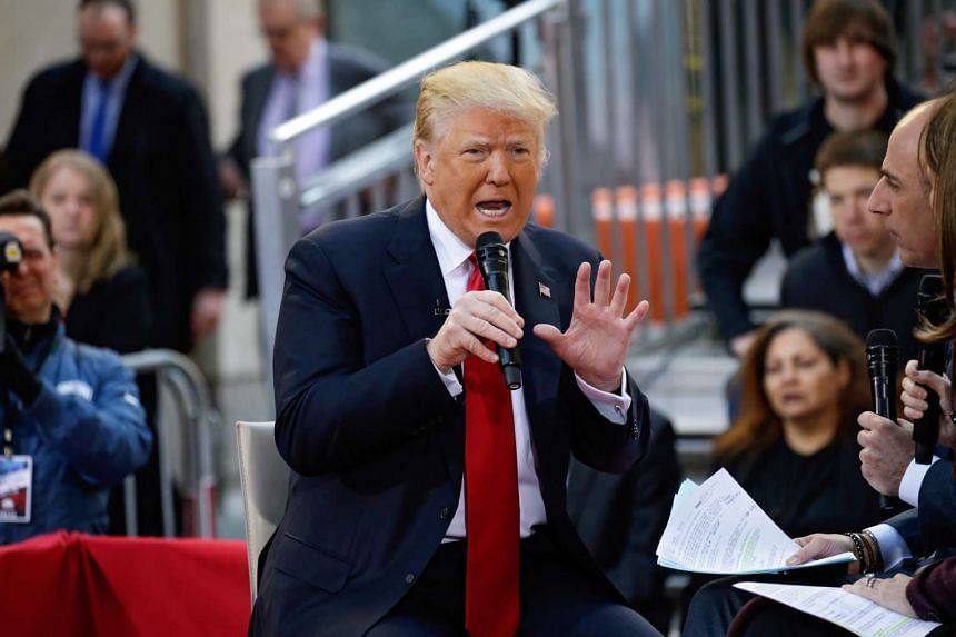 US Republican presidential candidate Donald Trump on a NBC Town Hall at the Today Show in Rockefeller Plaza in New York, New York, USA, on April 21, 2016.