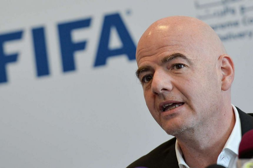 Fifa President Gianni Infantino speaks to journalists during the joint press conference for Fifa, Supreme Committee for Delivery and Legacy, and Qatar Football Association in Doha, Qatar, on April 22, 2016.