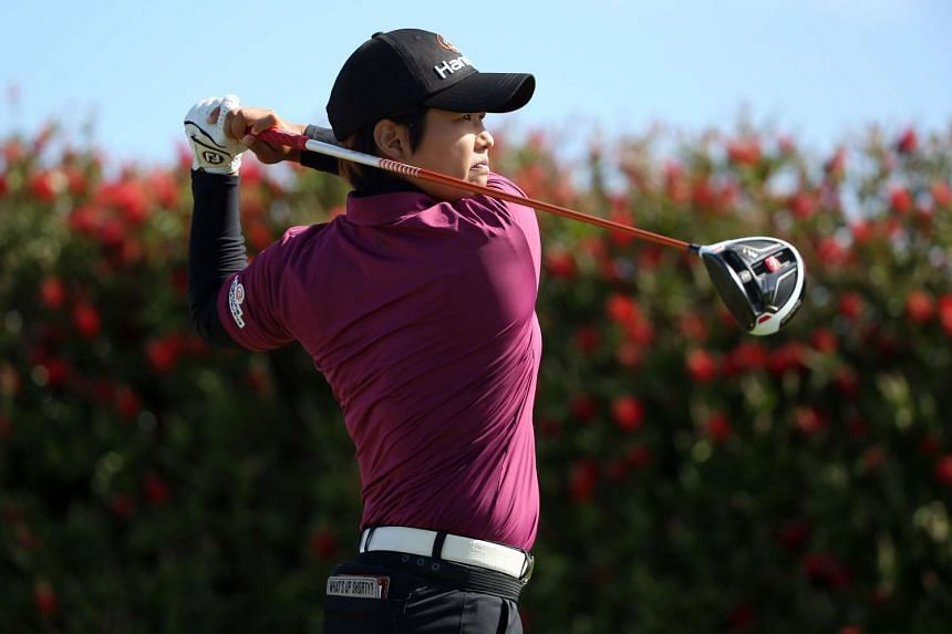 Haru Nomura tees off on the 10th hole during round two of the Swinging Skirts LPGA Classic, on April 22, 2016.