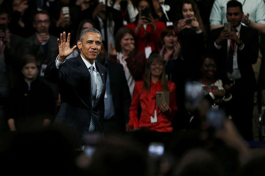 US President Barack Obama takes part in a Town Hall meeting at Lindley Hall in London, on April 23, 2016.