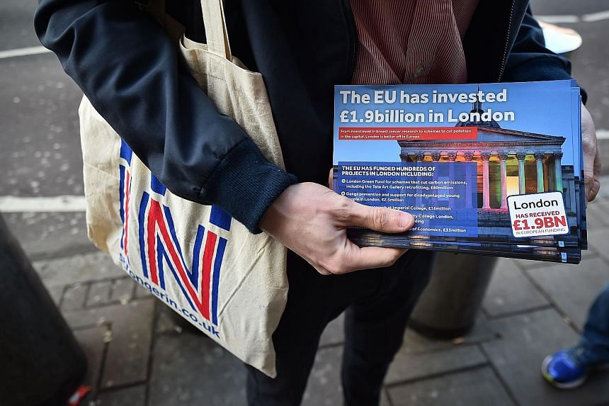 A campaigner with a Britain Stronger In Europe flier in London. Brexit could have ripple effects in Asia.