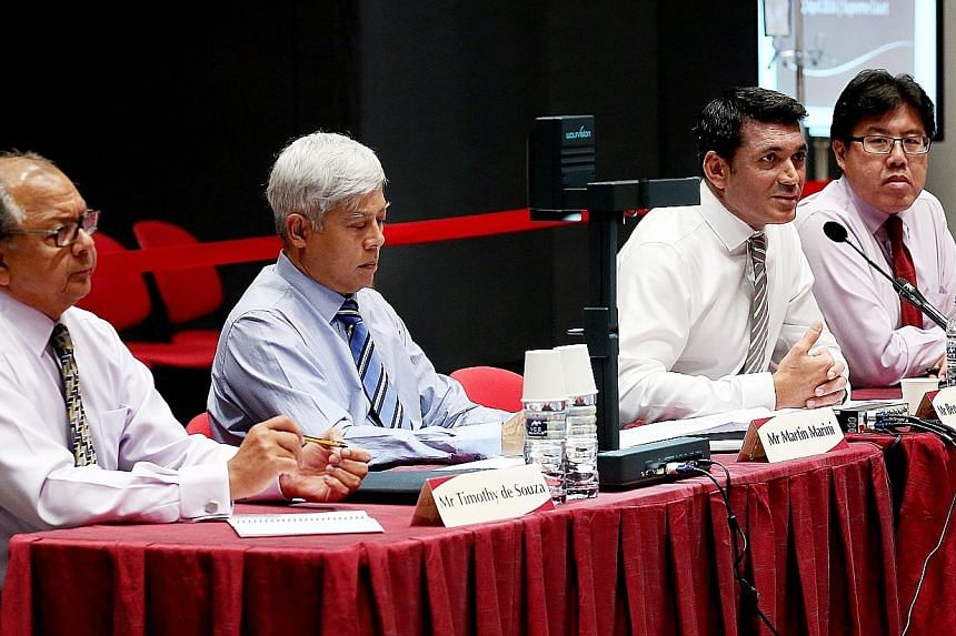 (From far left) Eurasian Association trustee Timothy de Souza, honorary treasurer Martin Marini, president Benett Theseira and vice-president Alexius Pereira at the second Constitutional Commission hearing on the elected presidency yesterday.