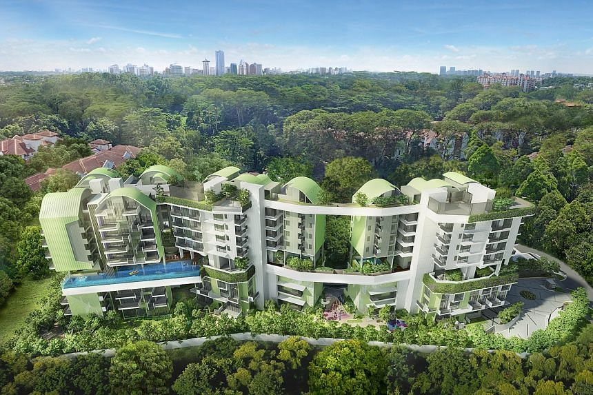 Progressive sales recognition for Alex Residences, Mon Jervois and Pollen & Bleu (artist's impression above) boosted transactions of trading properties by 2 per cent to $70.4 million.