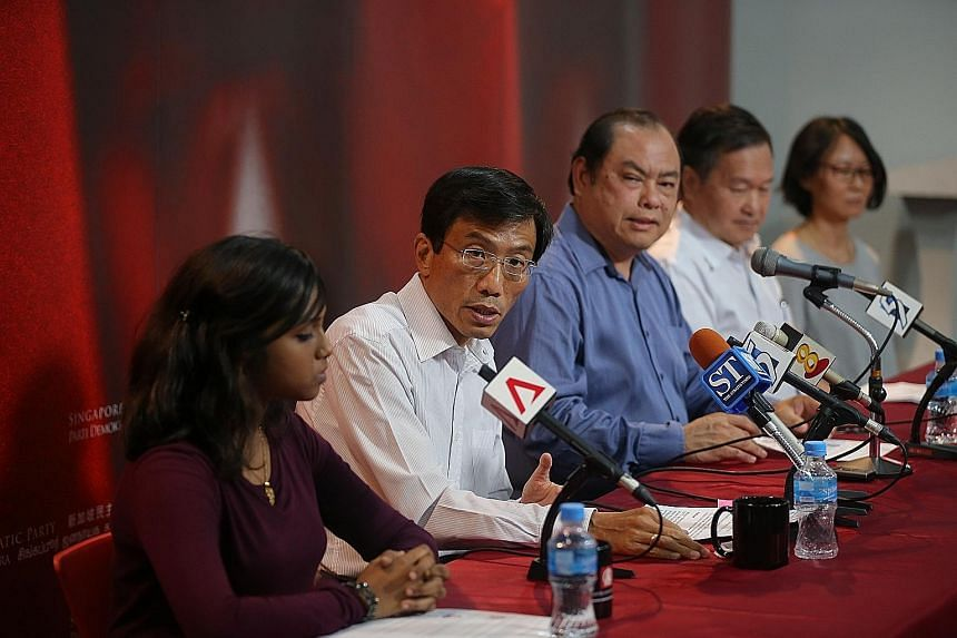 (From left) Allied educator Rajakumari Ashukumar, who will coordinate SDP's Pathfinder programme; SDP secretary- general Chee Soon Juan; SDP vice-chairman John Tan; Mr Tan Kin Lian, who will facilitate the Dollars And Sense financial clinic; and priv