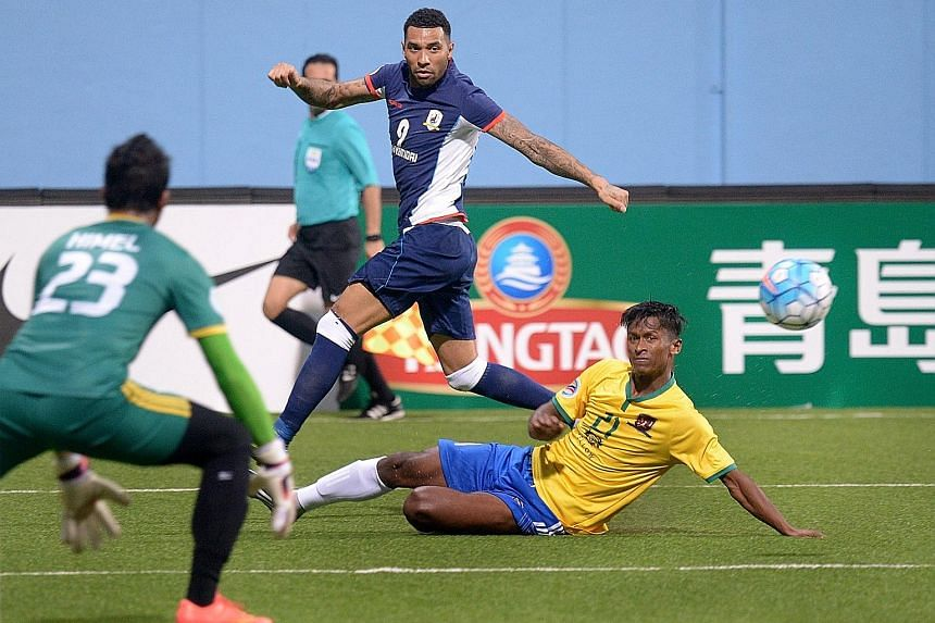 While marquee player Jermaine Pennant (centre) and former LionsXII players have added to the club's wage bill, Tampines' cash flow has been hurt by below-expected sponsorship and the cessation of jackpot machines.