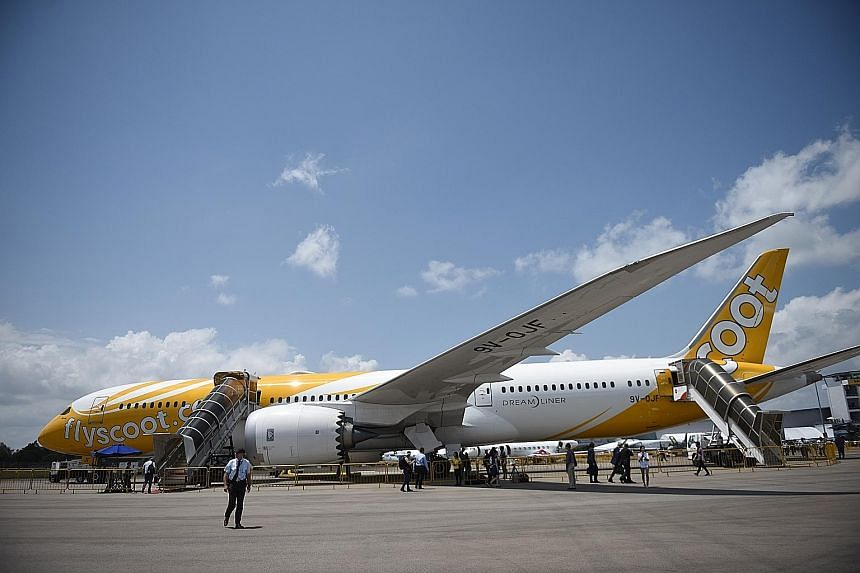 One of Scoot's Boeing 787 Dreamliners at the Singapore Airshow in February. The SIA subsidiary will use Dreamliners for all its flights to India. To mark the launch of its services, Scoot is offering promotion fares starting from $99 for economy clas