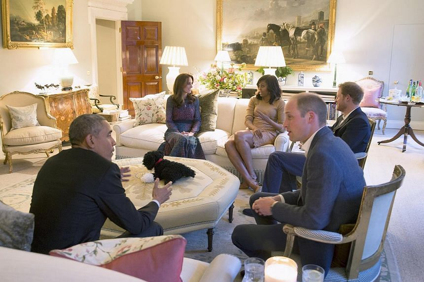 US President Barack Obama and first lady Michelle Obama visiting Kensington Palace for dinner with Britain's Prince William, his wife Catherine, Duchess of Cambridge, and Prince Harry in London, Britain, on April 22, 2016.