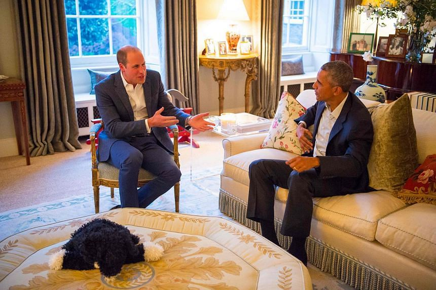 Britain's Prince William, Duke of Cambridge (left) talks with US President Barack Obama (right) in a reception room at Kensington Palace in London, April 22, 2016.
