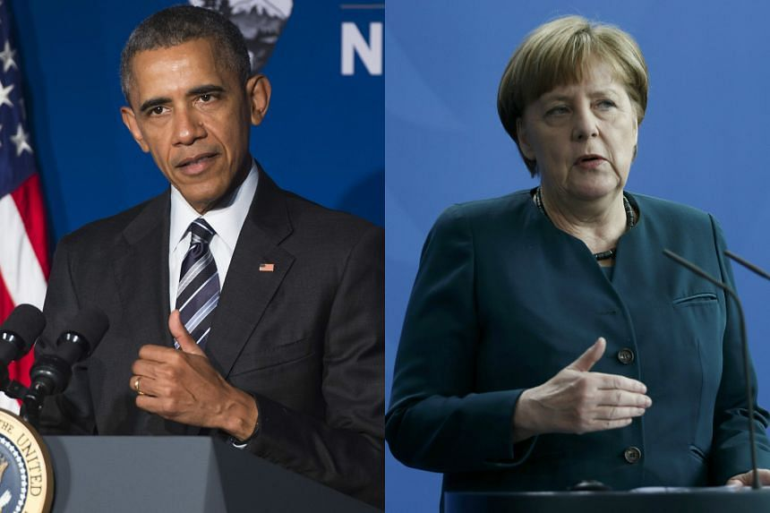 United States President Barack Obama (left) and German Chancellor Angela Merkel tomorrow.