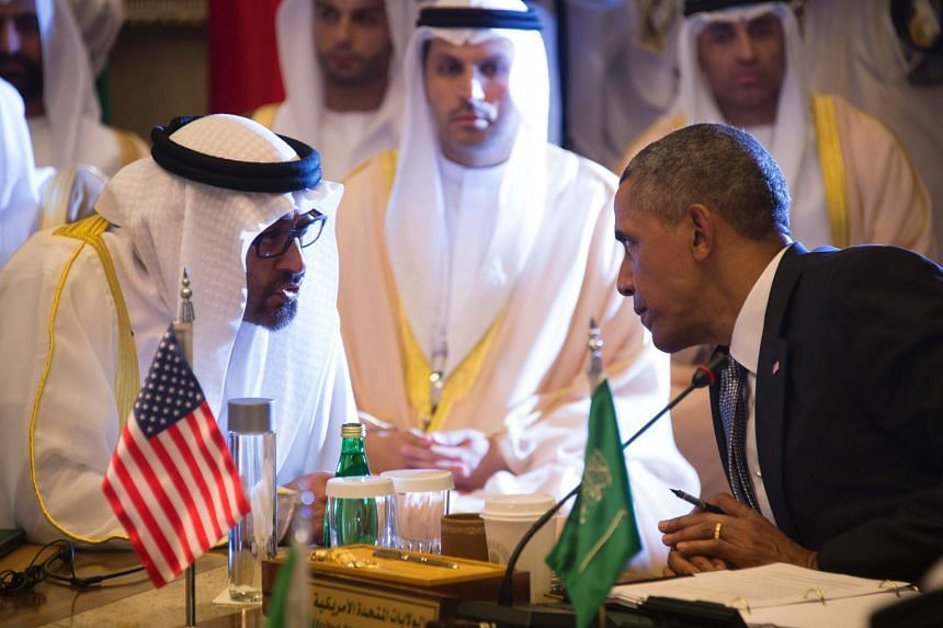 Mr Obama, seen here with Sheikh Mohammed Zayed Al Nahyan, the crown prince of Abu Dhabi, at the US-Gulf Cooperation Council Summit in Riyadh earlier this month. Despite his meeting with Gulf leaders, Mr Obama was unable to repair the US-Saudi alliance, wh