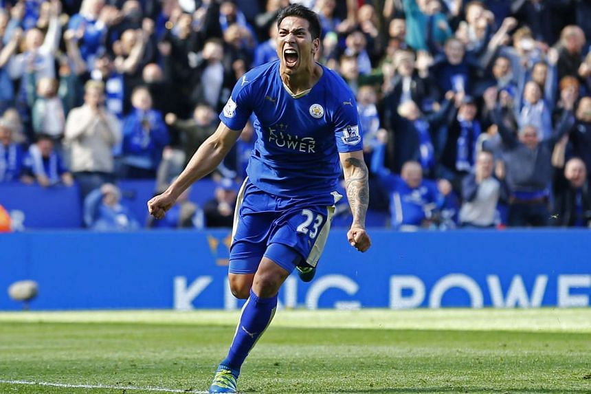 Leicester's Leonardo Ulloa celebrating his goal against West Ham from the penalty spot on April 17.