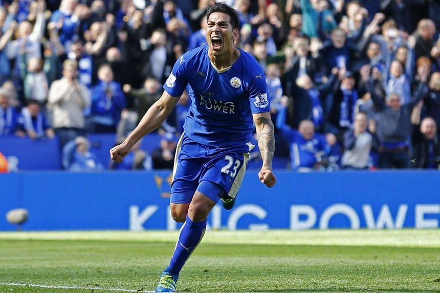 Leicester's Leonardo Ulloa celebrating his goal against West Ham from the penalty spot on April 17.