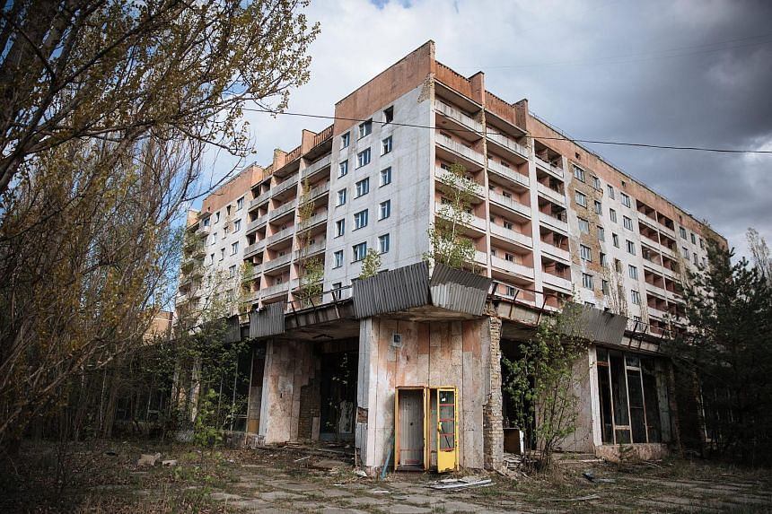 An abandoned building in the deserted city of Pripyat, near the Chernobyl nuclear power plant, Ukraine on April 22, 2016.