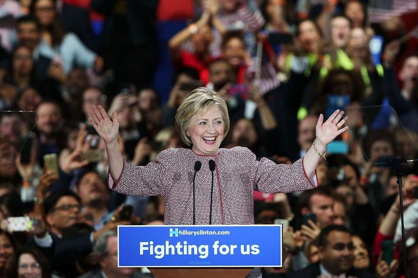 Democratic presidential candidate Hillary Clinton celebrates victory in the New York state primary on April 19, 2016 in New York City.