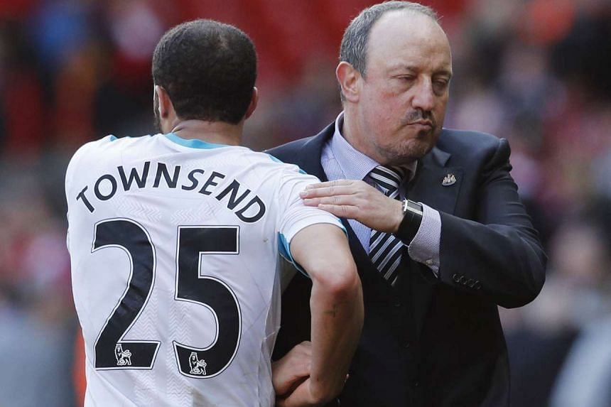 Newcastle manager Rafael Benitez with Andros Townsend after the Barclays Premier League game at Anfield  on April 2, 2016.
