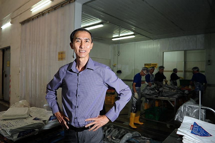 Mr Chew Kim Koon's company distributes exotic seafood like lobster, scallop and Chilean sea bass. He obtains supplies from countries like Chile, Argentina and Australia, and exports mainly to South-east Asia and Asia.