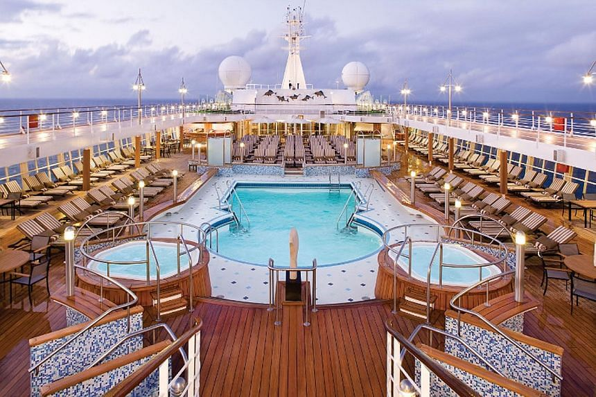 Indulgence is the selling point on ships like the Seven Seas Voyager (above) with its pool deck (top, right) and penthouse suite (bottom, right).