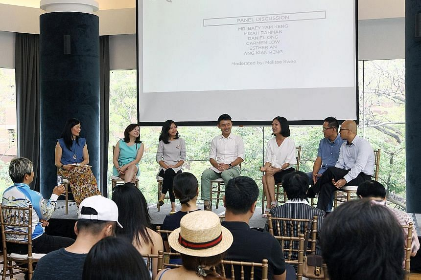 Parliamentary Secretary for Culture, Community and Youth Baey Yam Keng (centre) in a panel discussion on charity initiatives, moderated by National Volunteer and Philanthropy Centre chief executive Melissa Kwee (far left).